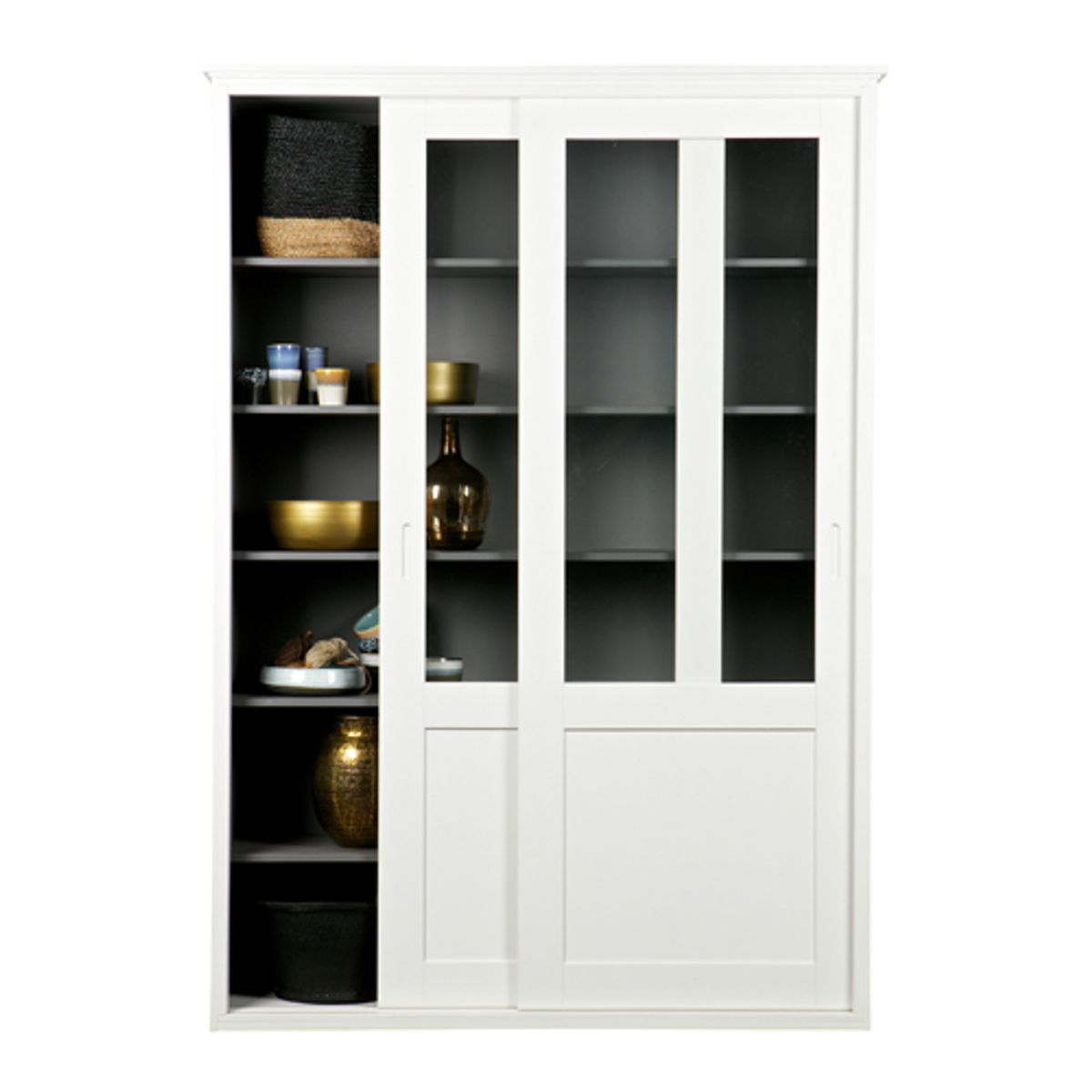 vaisselier vitrine en pin massif 5 tag res 2 portes vince blanc decoclico. Black Bedroom Furniture Sets. Home Design Ideas