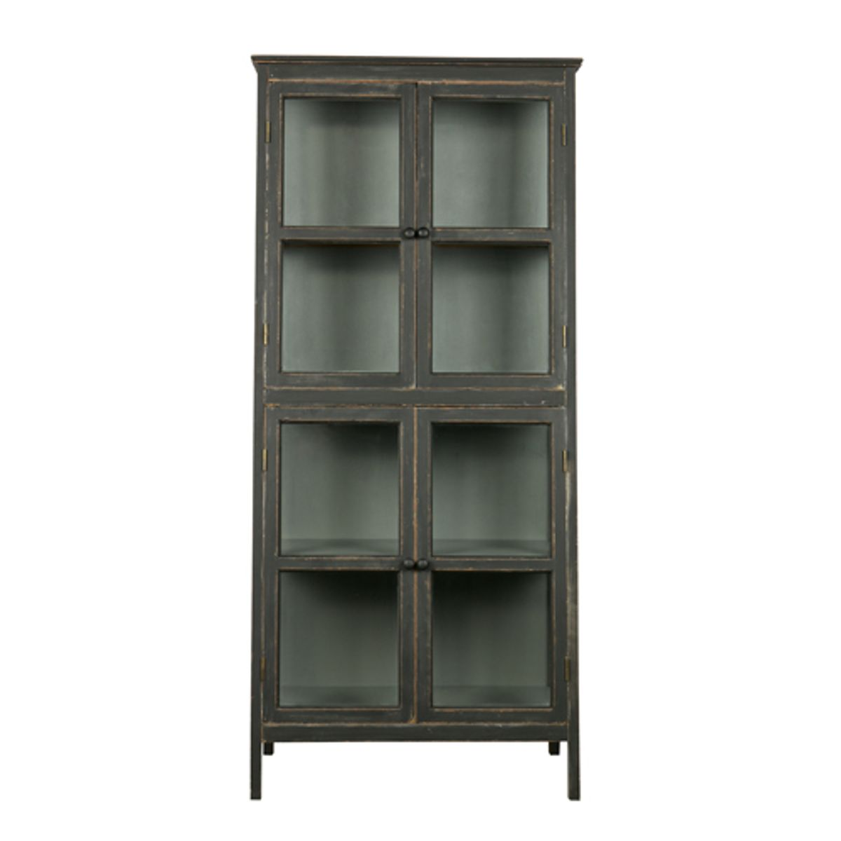 vitrine en bois noir et verre 3 tag res 4 portes. Black Bedroom Furniture Sets. Home Design Ideas