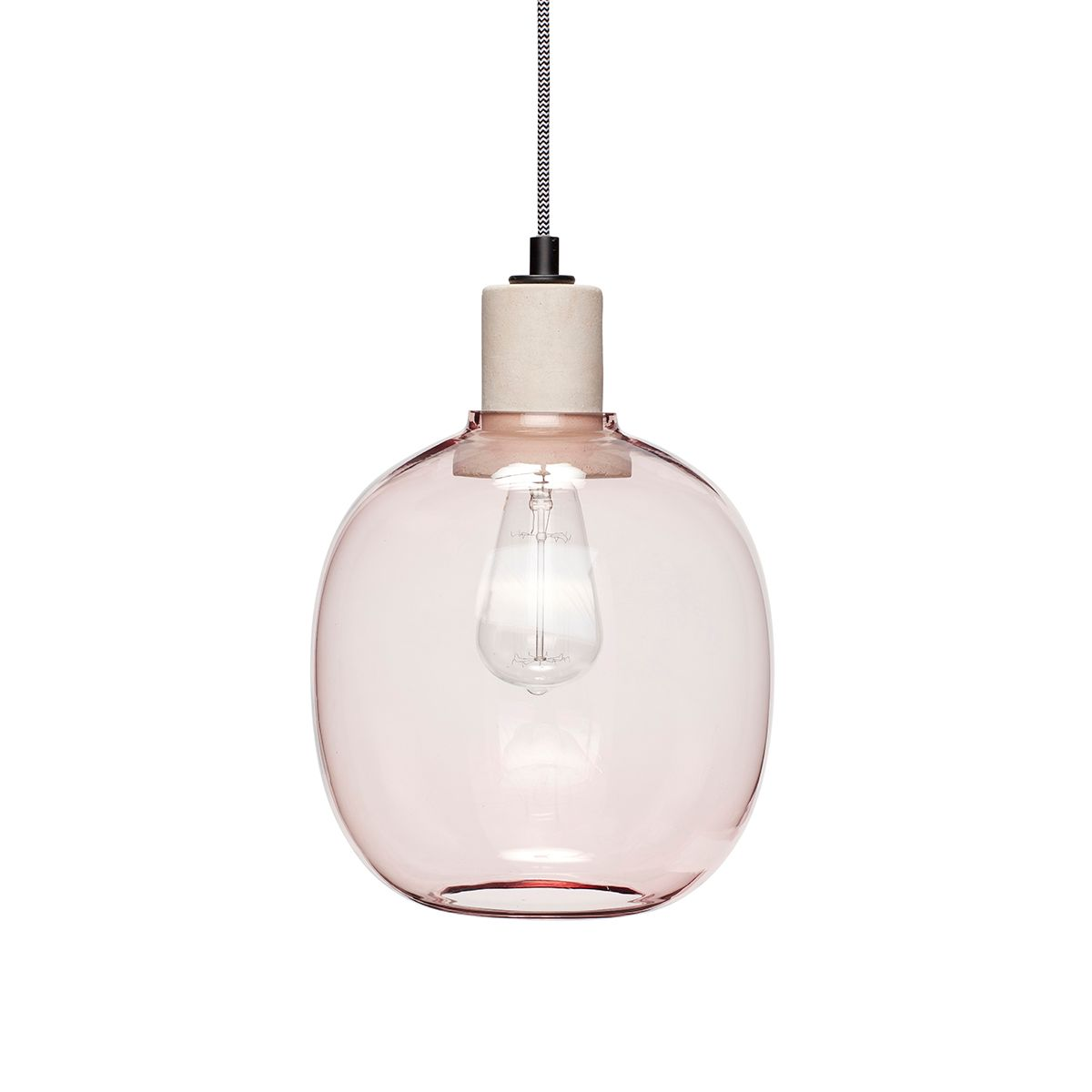 Suspension globe en verre rose clair Hübsch
