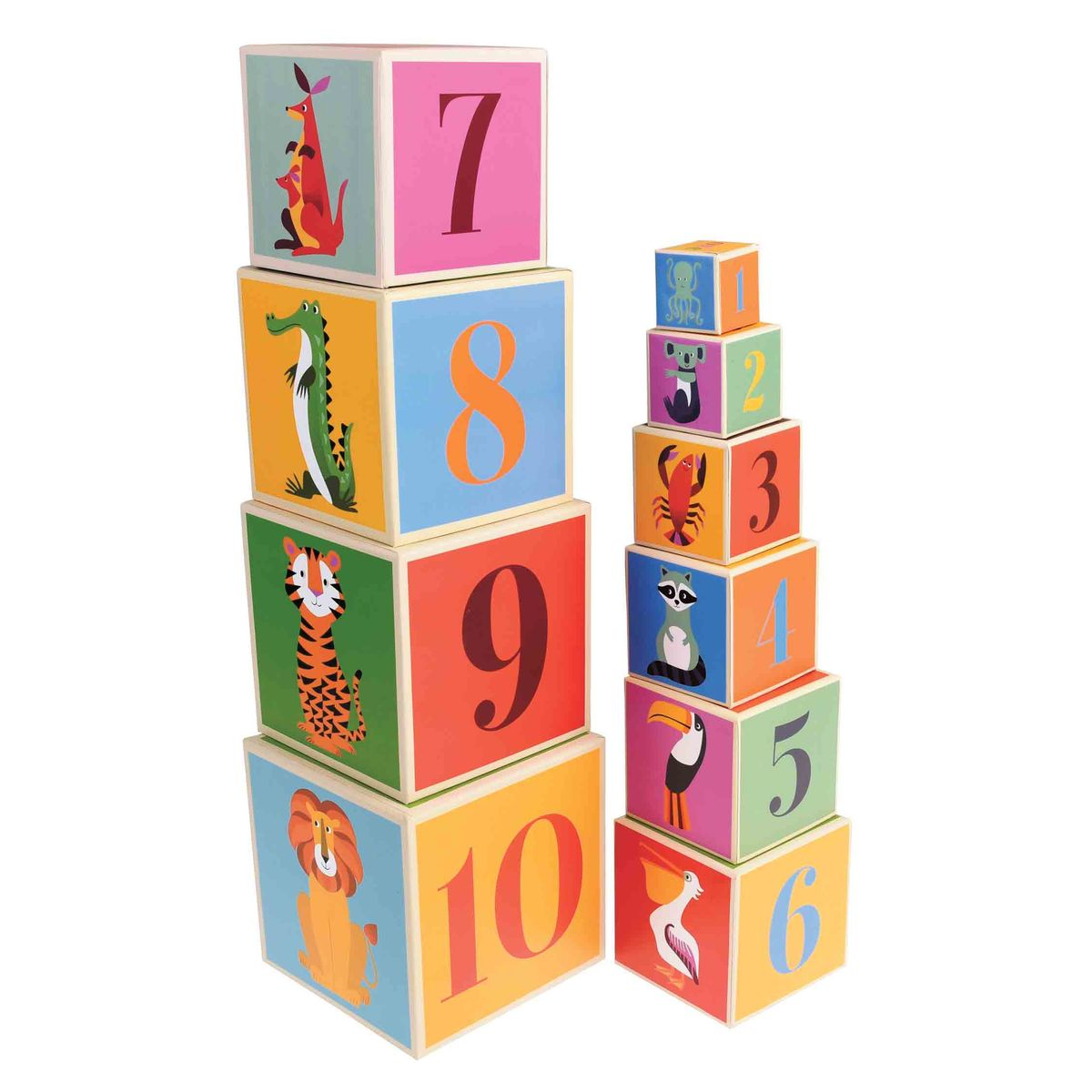 Cubes empilables alphabet Colourful Creatures Rex