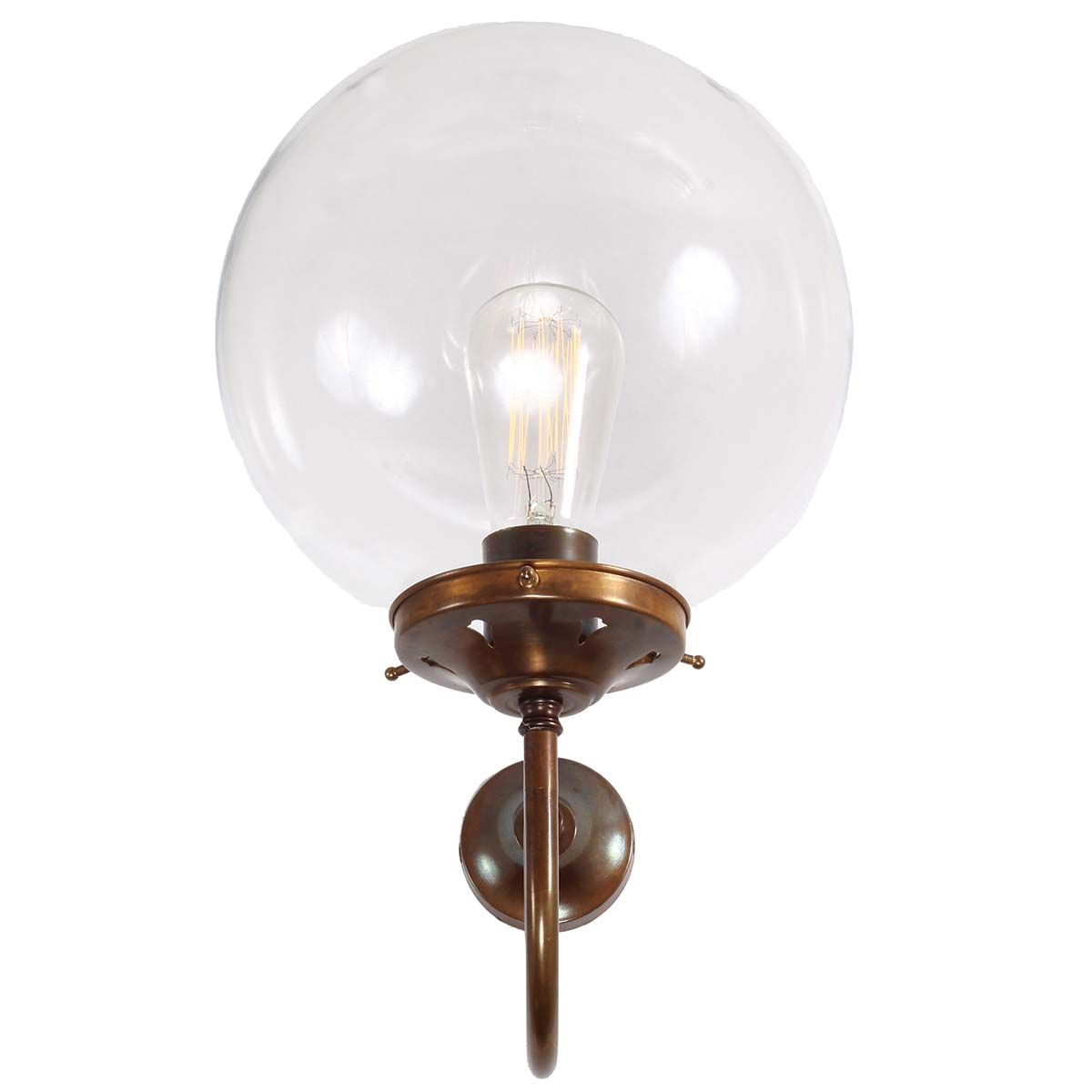 Applique murale en laiton antique et globe en verre Riad Mullan Lighting