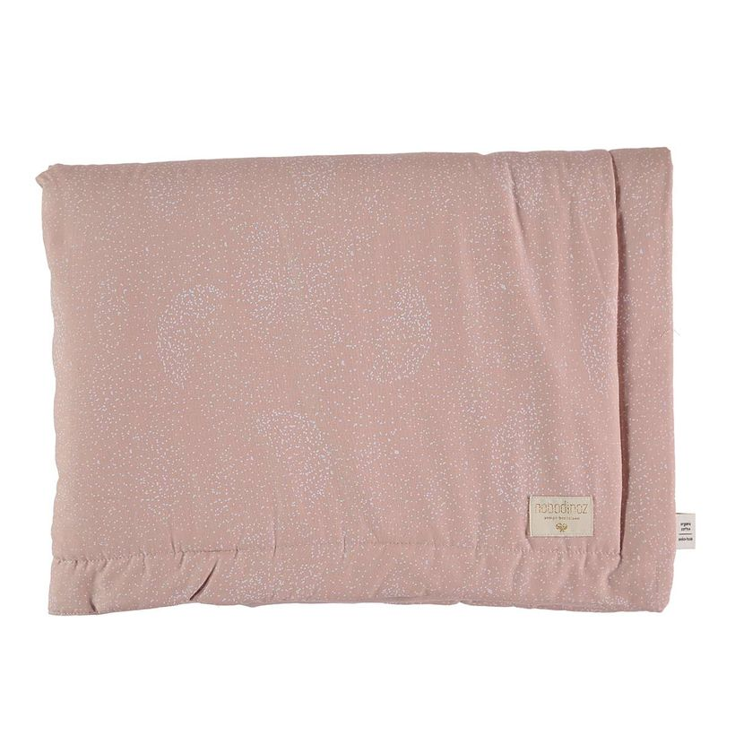 Couverture en coton White Bubble Misty Pink Nobodinoz  140x100 cm