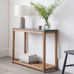 Console en acacia naturel et ciment gris Chilson