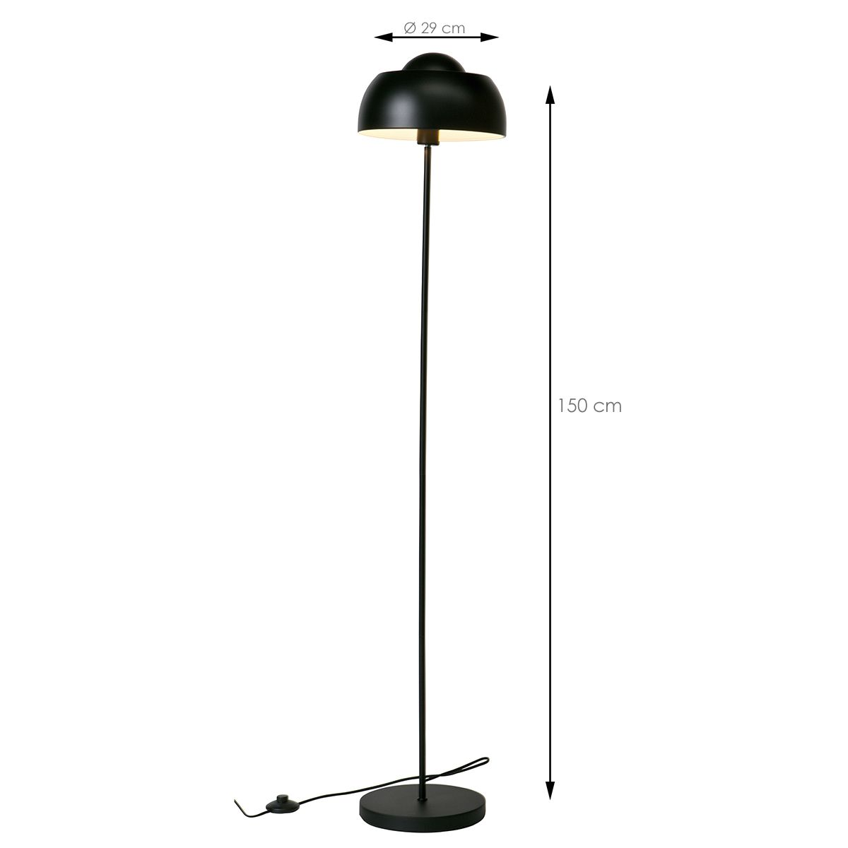Lampadaire en métal noir mat Yvet Made By Woood