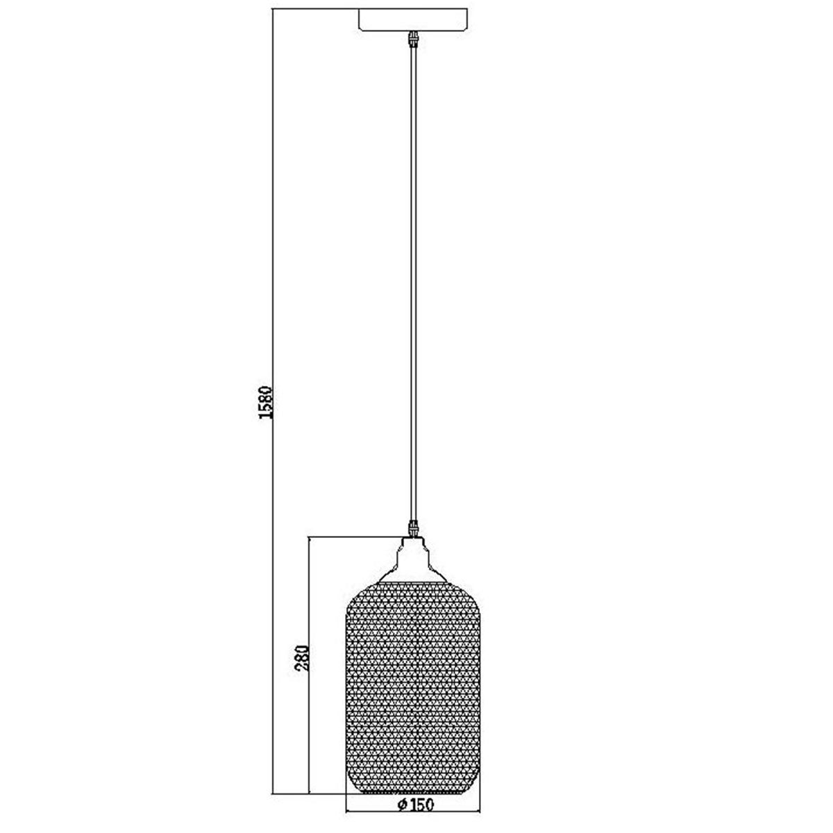 Suspension filaire en mesh noir Lucide