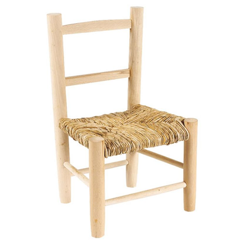 Chaise enfant 3 ans en h tre avec assise paille decoclico for Chaise en paille