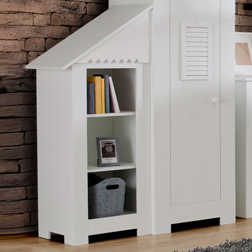 biblioth que basse enfant cabine de plage en bois blanc marsylia pinio decoclico. Black Bedroom Furniture Sets. Home Design Ideas