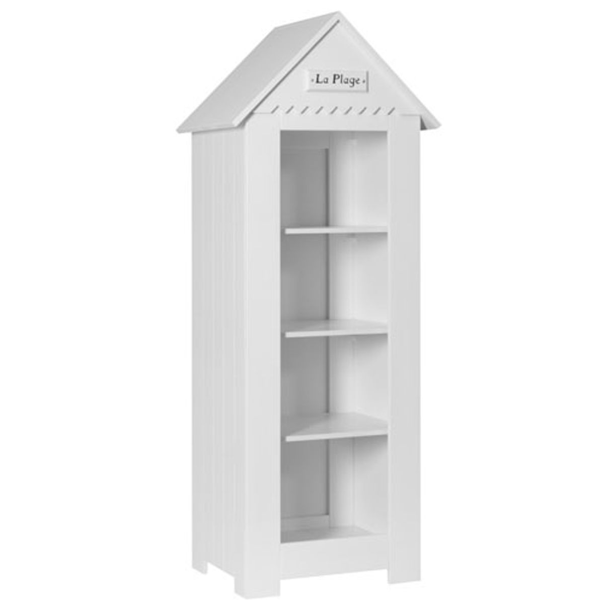 biblioth que enfant cabine de plage en bois blanc 3 tag res marsylia pinio decoclico. Black Bedroom Furniture Sets. Home Design Ideas