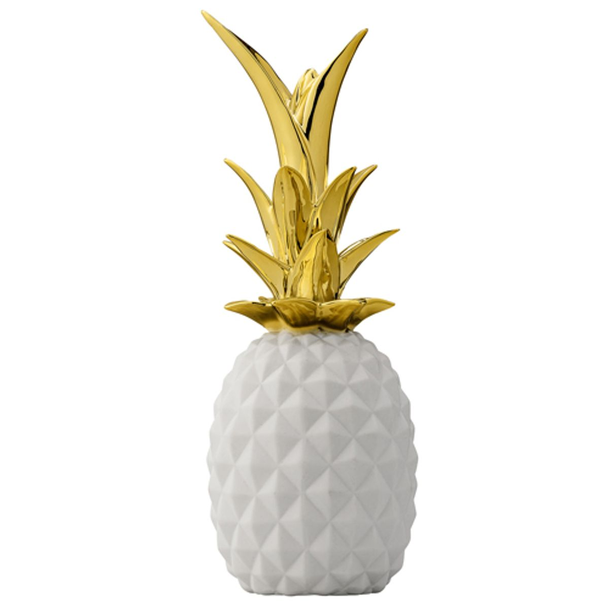 ananas en c ramique blanche feuillage dor bloomingville decoclico. Black Bedroom Furniture Sets. Home Design Ideas