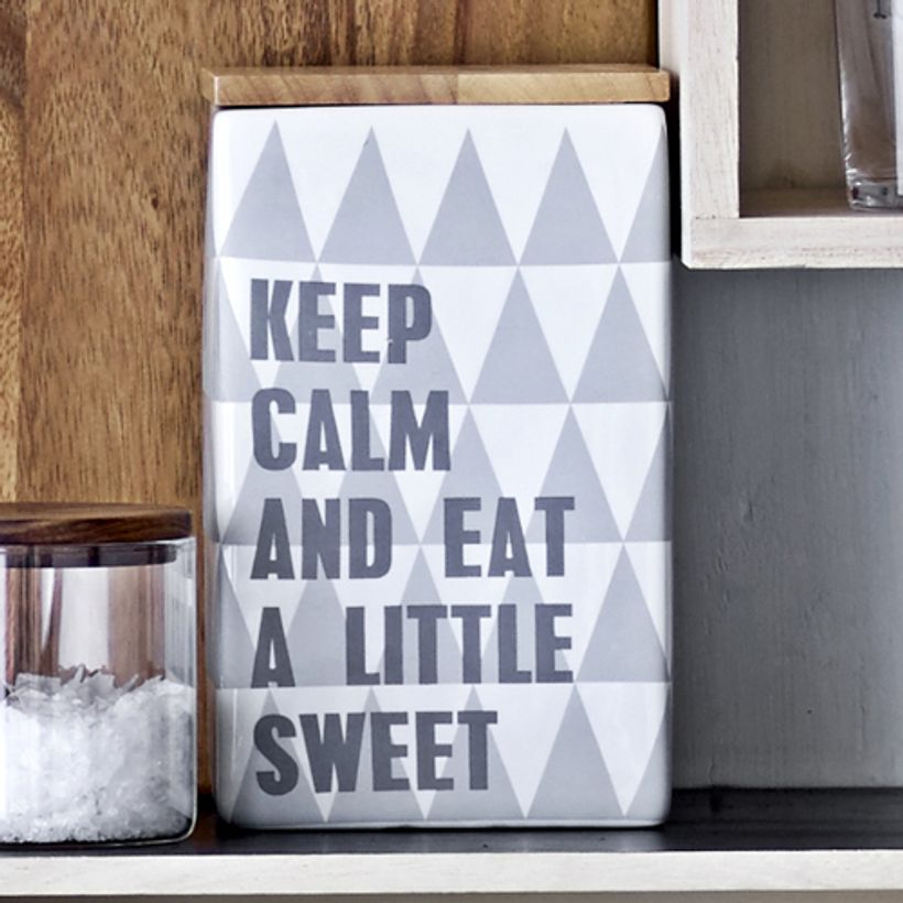 Boîte en porcelaine et bambou Keep Calm Little Sweet Bloomingville
