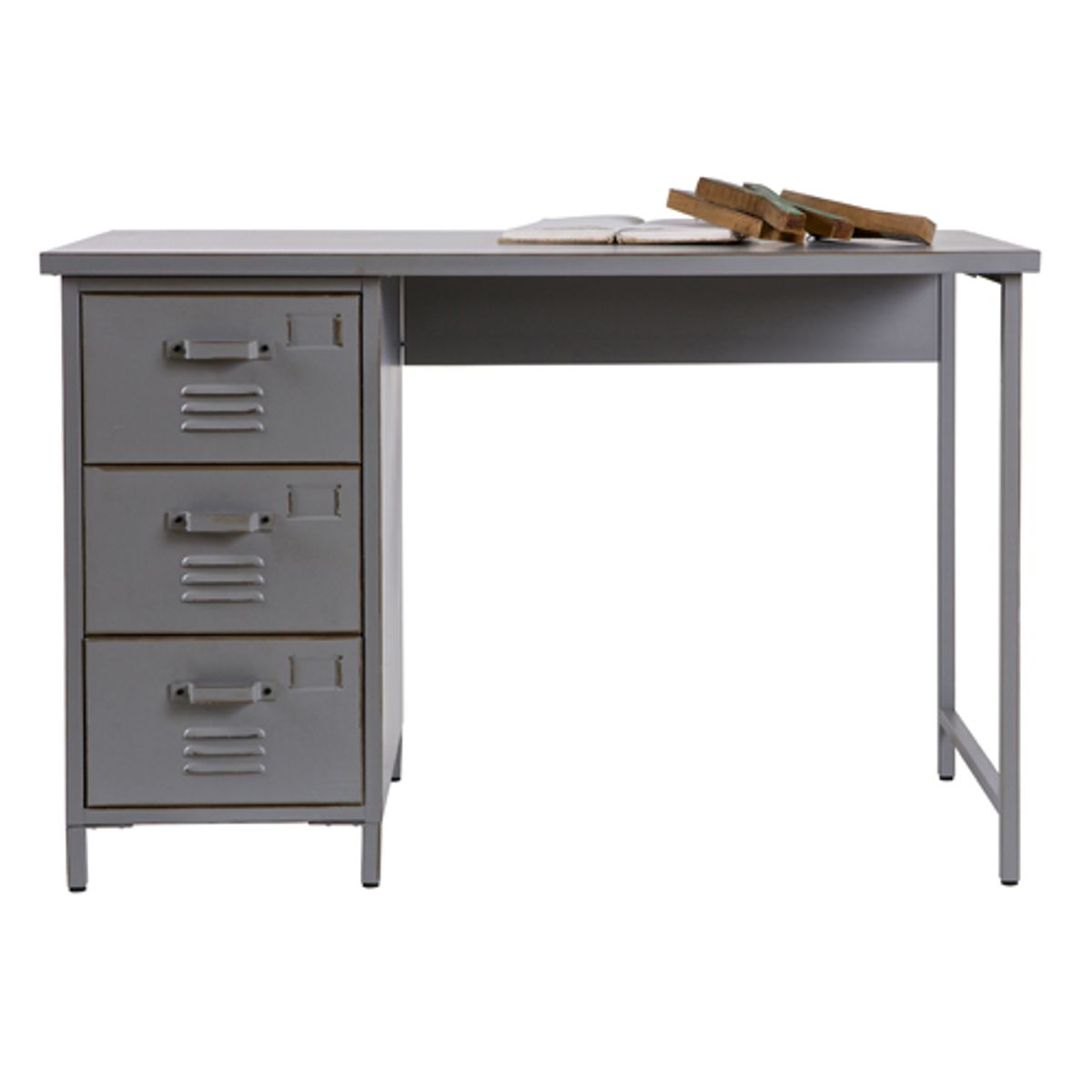 bureau en m tal gris 3 tiroirs vintage max decoclico. Black Bedroom Furniture Sets. Home Design Ideas