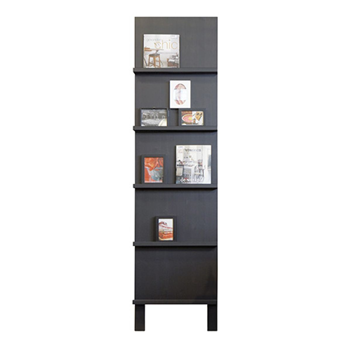 Etagère inclinée porte magazines en pin massif FSC Display - noir