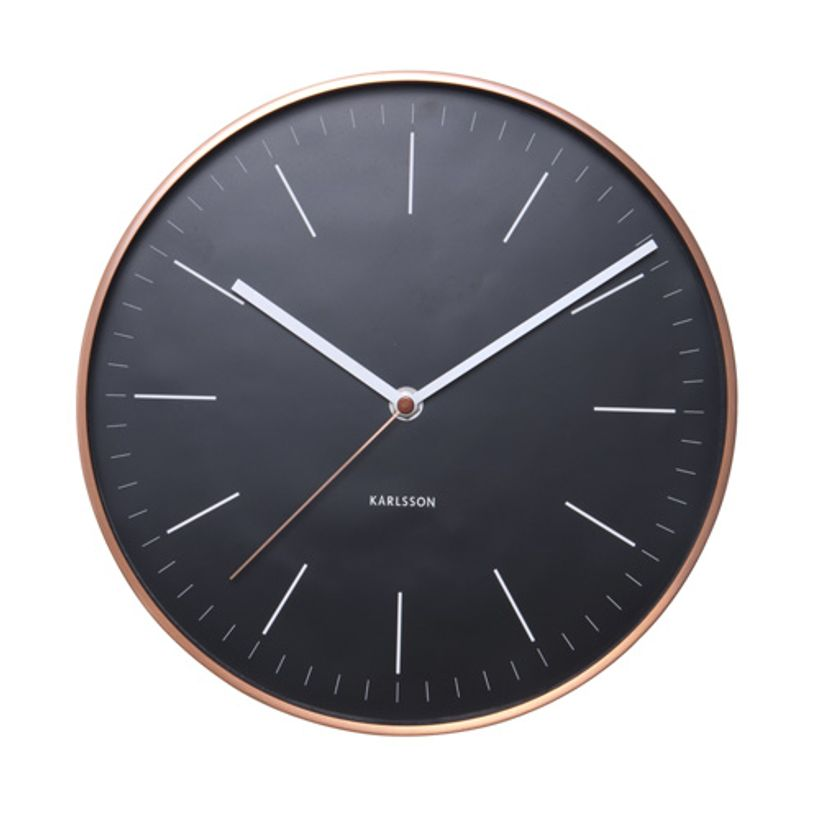 horloge murale en cuivre fond noir karlsson decoclico. Black Bedroom Furniture Sets. Home Design Ideas