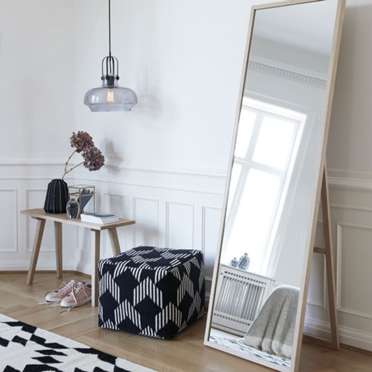 miroir sur pied en bois de ch ne naturel h bsch decoclico. Black Bedroom Furniture Sets. Home Design Ideas