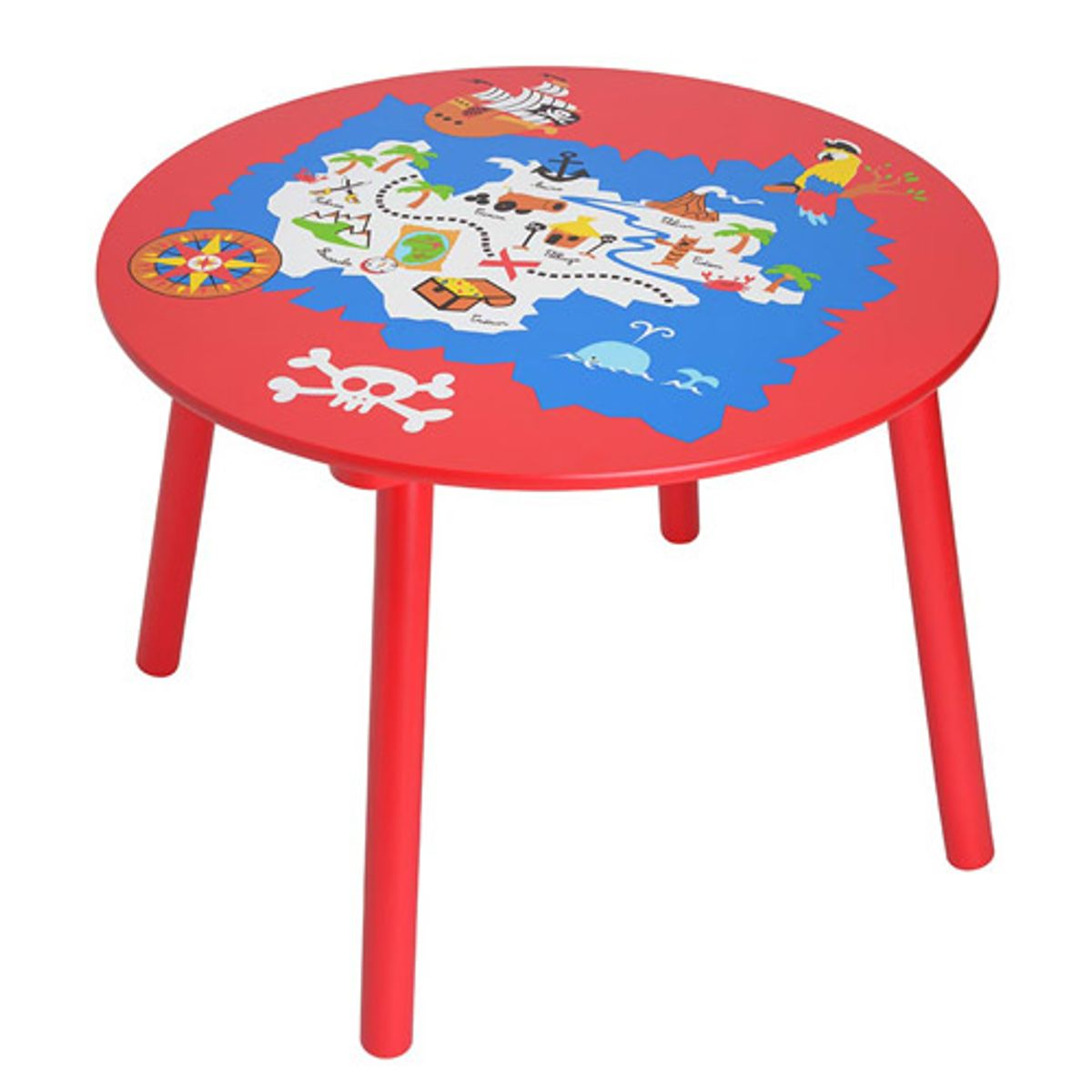 Table ronde en bois peint enfant pirates la chaise longue for Chaise pour table ronde