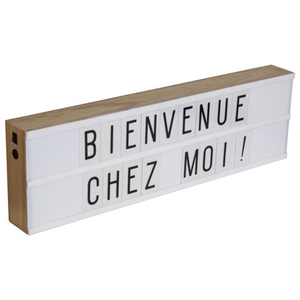 lightbox bo te lumineuse led en bois avec 130 lettres et symboles decoclico. Black Bedroom Furniture Sets. Home Design Ideas