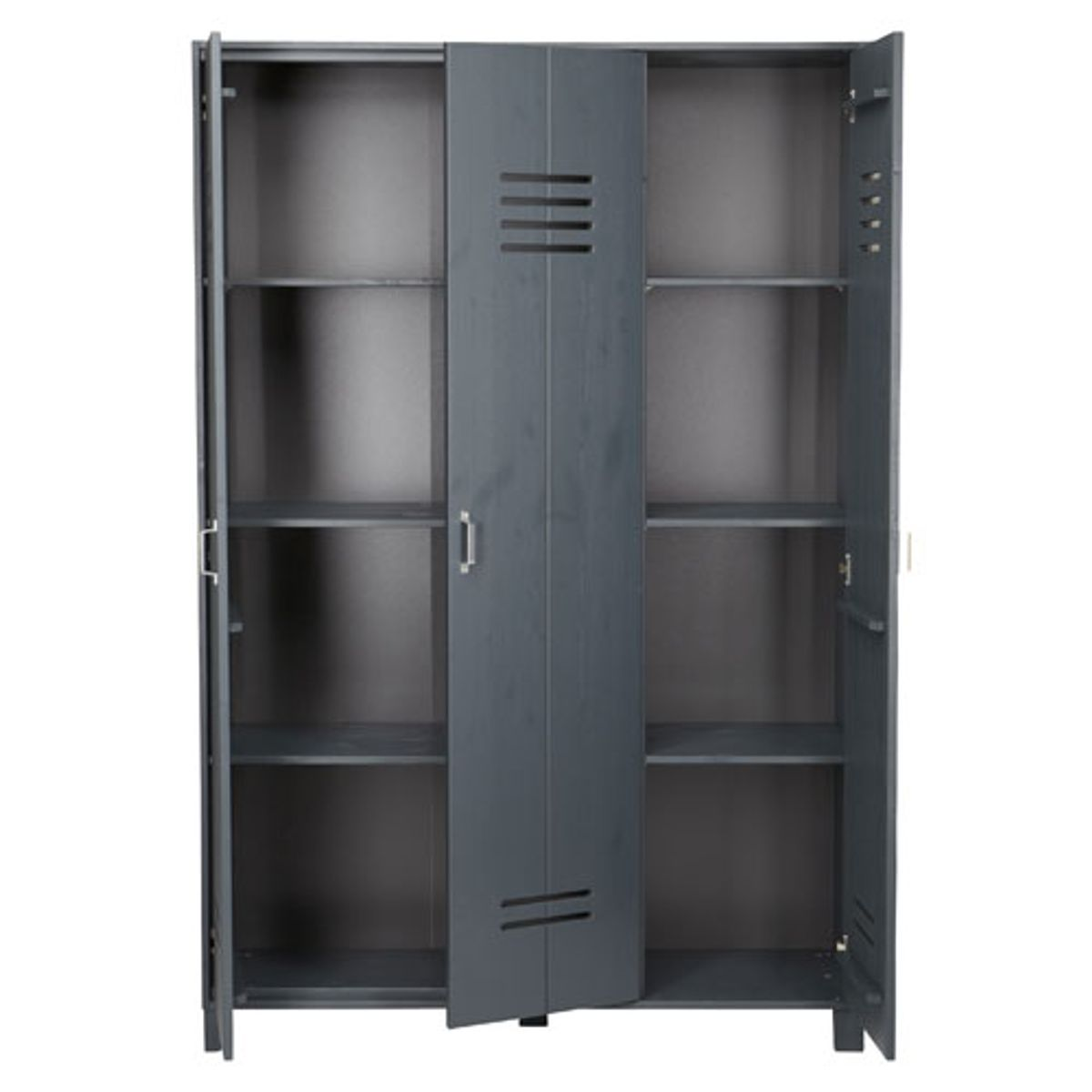 armoire type casier 3 portes en pin gris locker decoclico. Black Bedroom Furniture Sets. Home Design Ideas