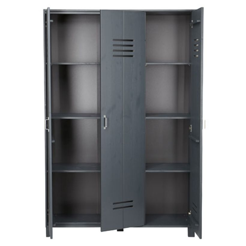 Armoire en pin 3 portes type casier Locker-Gris