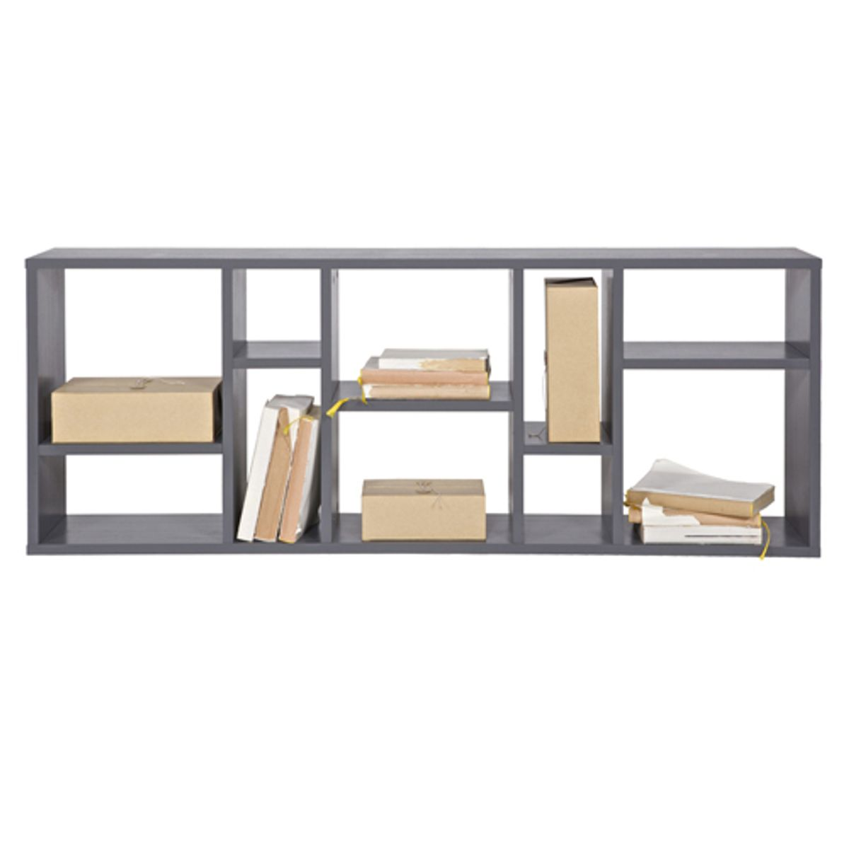 etag re biblioth que en pin gris fonc horizon fabrication. Black Bedroom Furniture Sets. Home Design Ideas