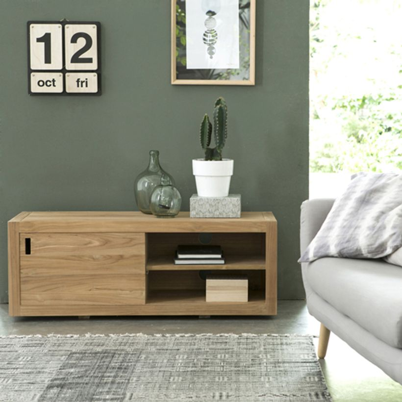 meuble tv en teck avec porte coulissante et 3 niches adam decoclico. Black Bedroom Furniture Sets. Home Design Ideas