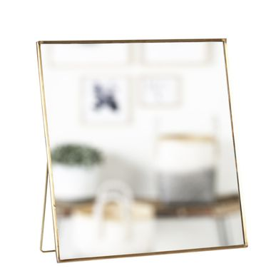 Miroir de table carr poser en m tal cuivr h bsch for Miroir a poser sur table