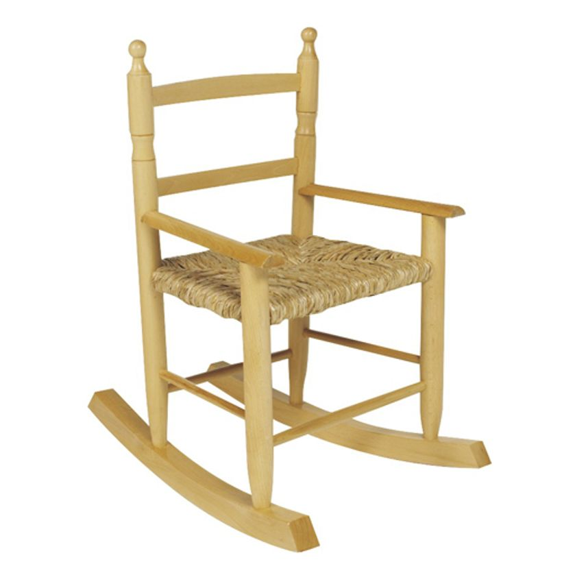 Rocking chair enfant 3 ans en hêtre naturel assise paille