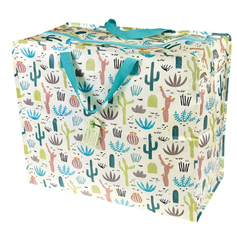 sac de rangement en plastique motif cactus anses zip decoclico. Black Bedroom Furniture Sets. Home Design Ideas