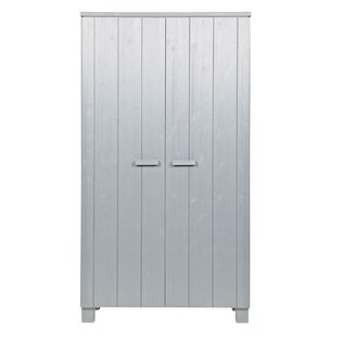 Armoire penderie en pin massif 2 portes 4 tag res dennis for Penderie roulante