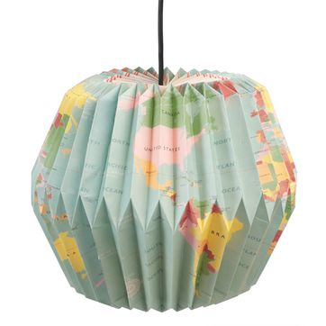 Lampion suspension origami en papier Carte du monde Rex