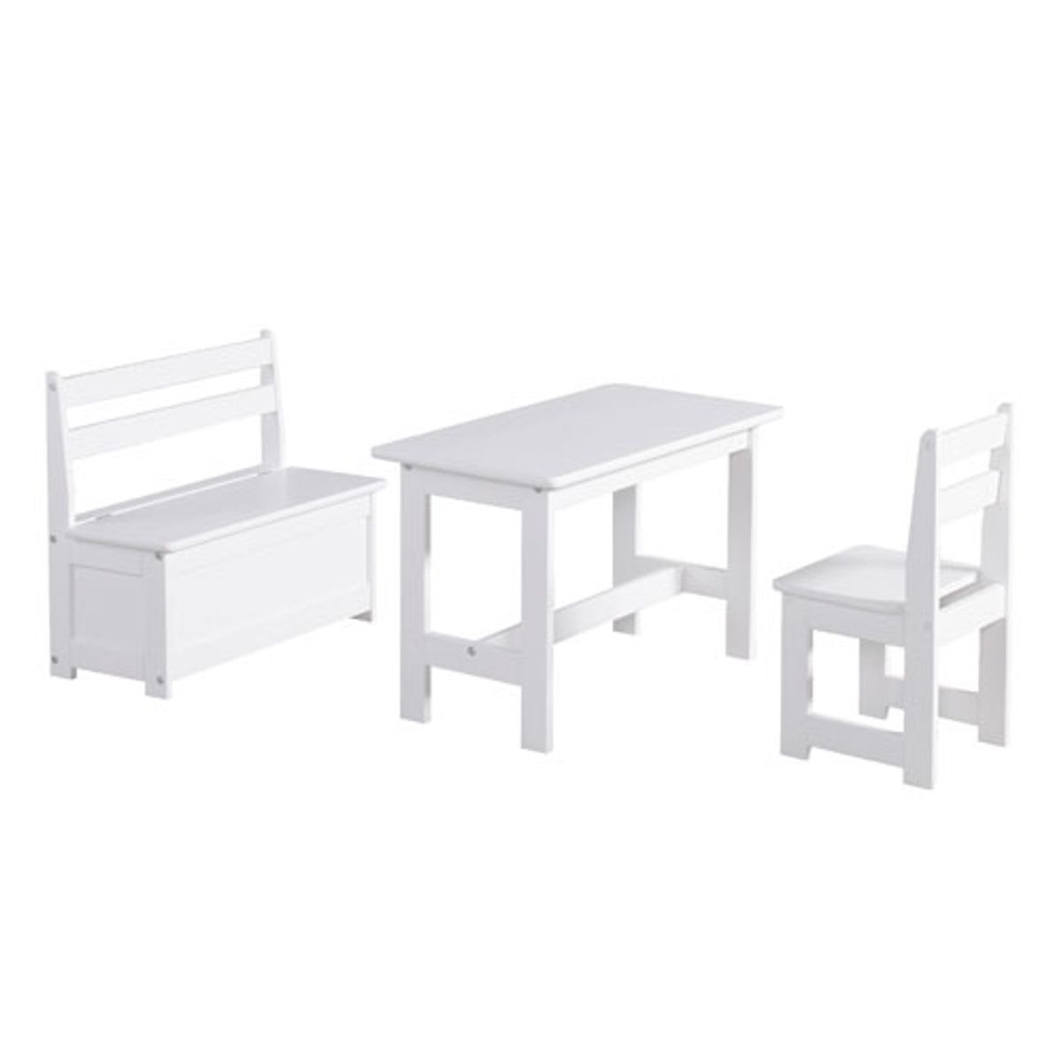 set table chaise et banc enfant en pin massif blanc pinio. Black Bedroom Furniture Sets. Home Design Ideas