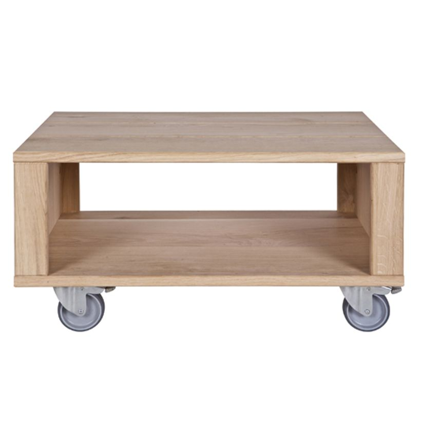 Table basse rectangulaire en ch ne massif sur roulettes oslo decoclico - Table basse en chene ...