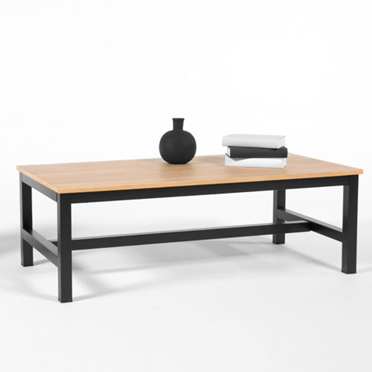 table basse avec plateau en ch ne et pied m tal robson decoclico. Black Bedroom Furniture Sets. Home Design Ideas