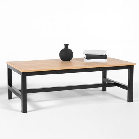 table manger avec plateau en ch ne et pied m tal robson decoclico. Black Bedroom Furniture Sets. Home Design Ideas