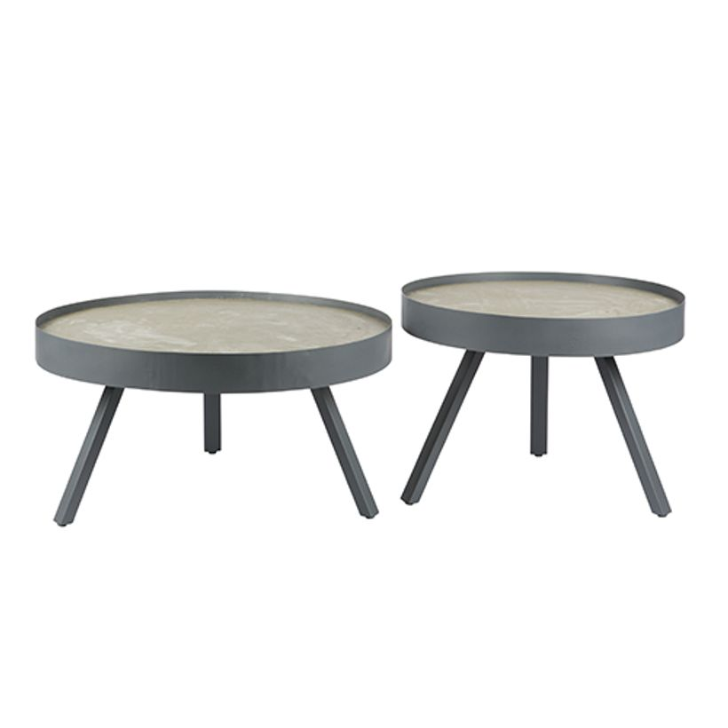 table basse ronde tripod grise avec plateau en b ton skip decoclico. Black Bedroom Furniture Sets. Home Design Ideas