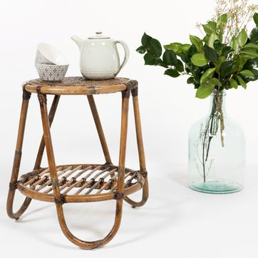 Table basse d'appoint vintage en rotin naturel Casatera