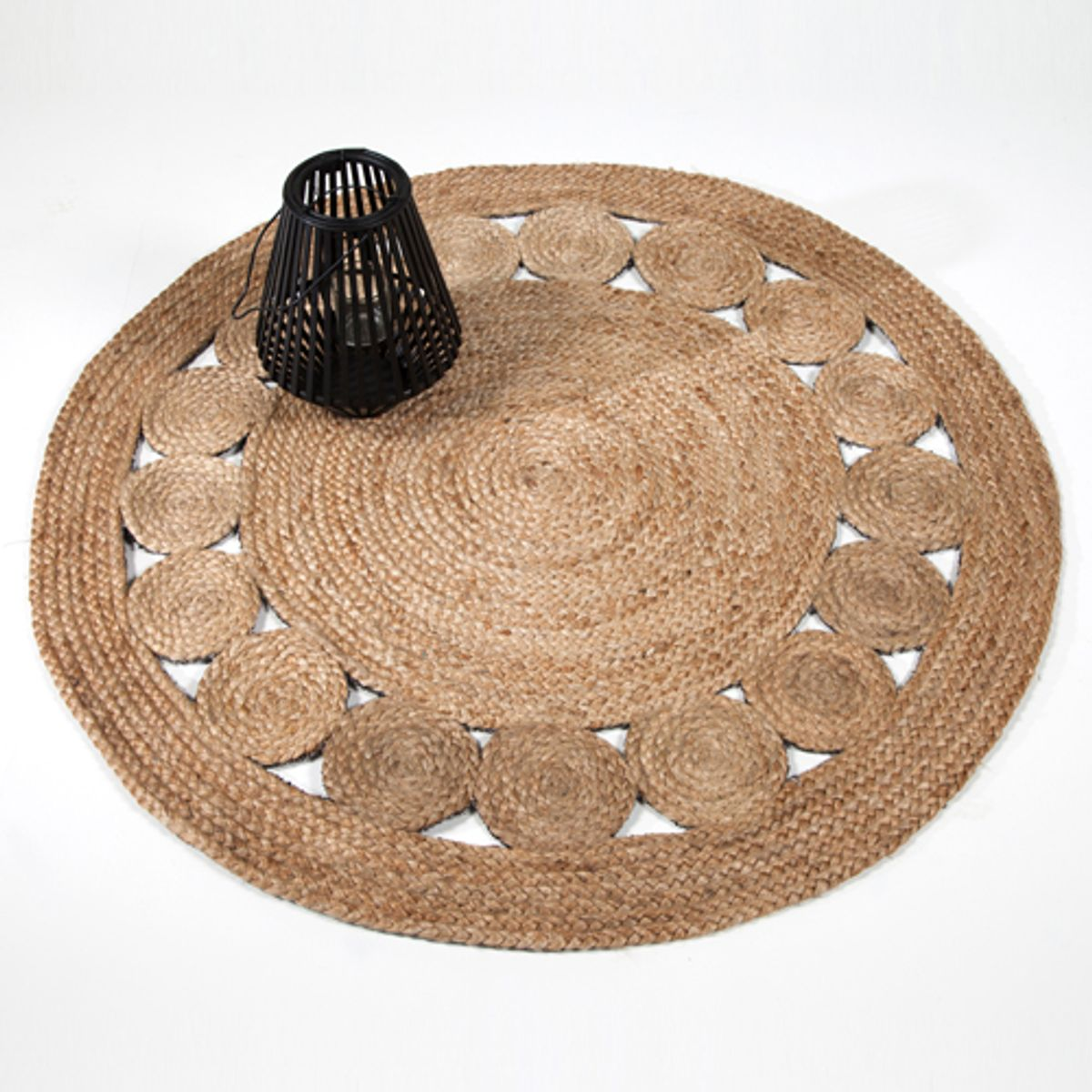 tapis rond esprit vintage en jute naturel tiss main 120 cm decoclico. Black Bedroom Furniture Sets. Home Design Ideas