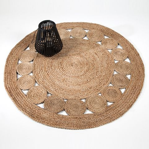 tapis rond en jute naturel tiss main fleur noir d120 cm. Black Bedroom Furniture Sets. Home Design Ideas
