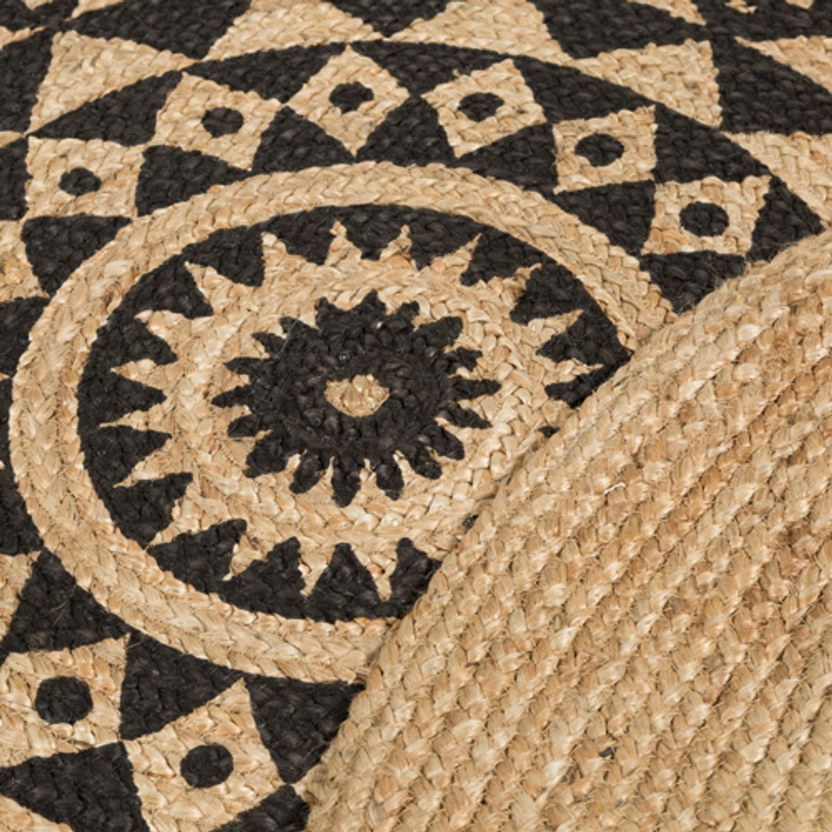 tapis rond r versible en jute naturel tiss main imprim. Black Bedroom Furniture Sets. Home Design Ideas